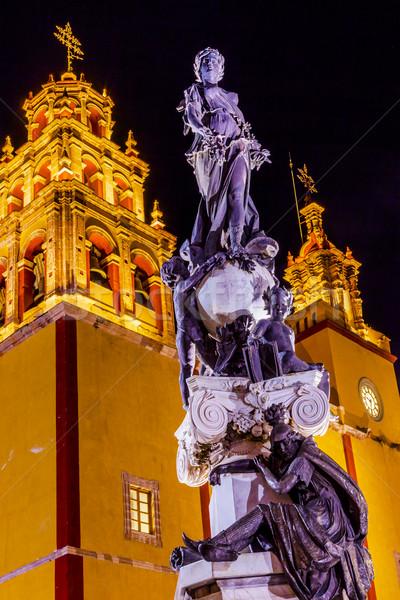 Pokoju posąg pani bazylika noc Meksyk Zdjęcia stock © billperry