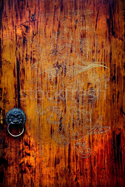 Old Carved Wooden Door Jinli Street Sichuan China Stock photo © billperry