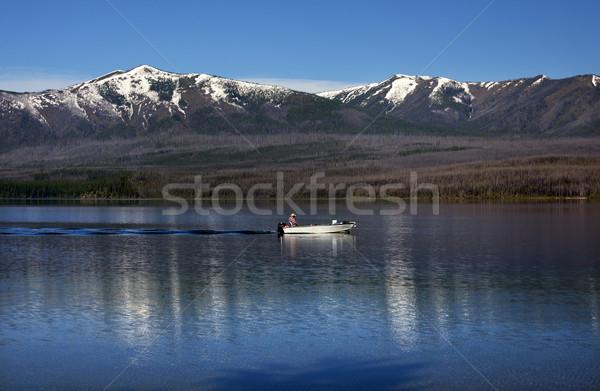 Tó halászhajók gleccser park Montana halászat Stock fotó © billperry