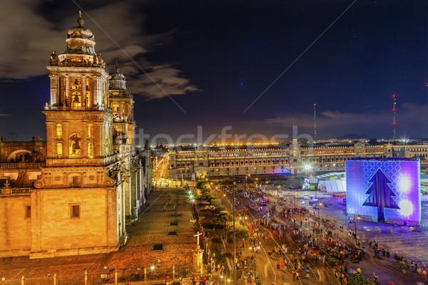 Metropolitan Cathedral Zocalo Mexico City Christmas Night Stock photo © billperry