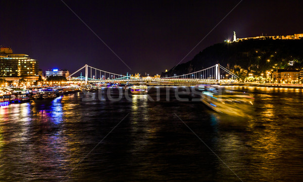 Cruise Boats Danube River Passing Under Chain Bridge Night Budap Stock photo © billperry
