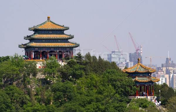 Jingshan Park Pavilions Beijing, China Stock photo © billperry