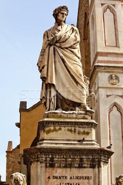 Dante Statue Basilica Santa Croce Facade Florence Italy Stock photo © billperry