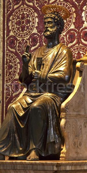 Vechi bronz statuie sculptură vatican Imagine de stoc © billperry