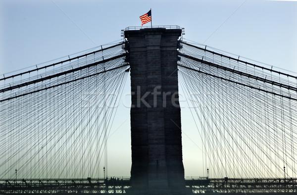 Brooklyn Bridge New York City Silhouette Stock photo © billperry