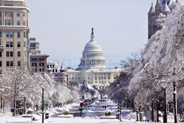 US Capital Pennsylvania Avenue After the Snow Washington DC Stock photo © billperry