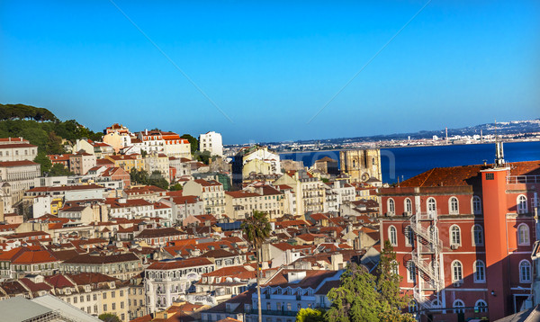 Vooruitzicht kathedraal huizen haven Lissabon Portugal Stockfoto © billperry