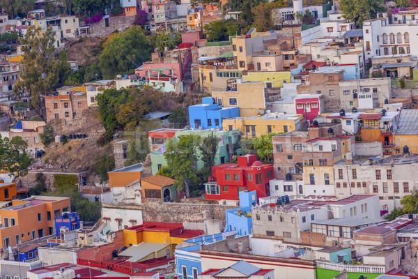 Muitos casas México laranja azul Foto stock © billperry