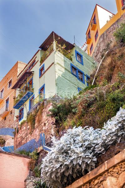 Muitos casas México verde azul Foto stock © billperry