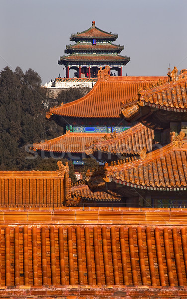 Jinshang Park from Forbidden City Yellow Roofs Gugong Palace Bei Stock photo © billperry