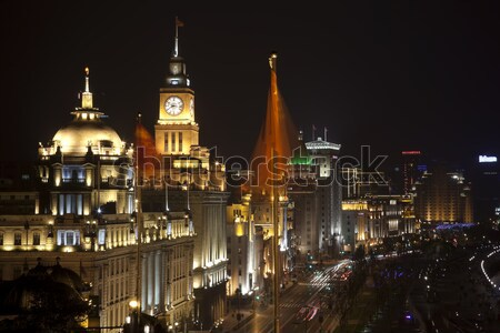 Stock photo: Shanghai Bund at Night With Cars