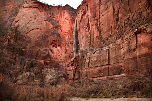 Templom vízesés piros kő fal szűz Stock fotó © billperry