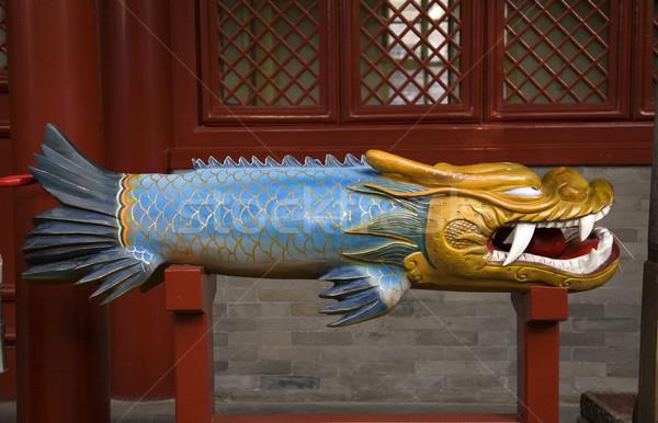 Houten draak vis bel tempel Stockfoto © billperry