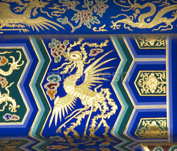 Phoenix detail tempel hemel Beijing China Stockfoto © billperry