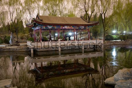Stone Boat Temple of Sun Pond Reflection Beijing China Stock photo © billperry