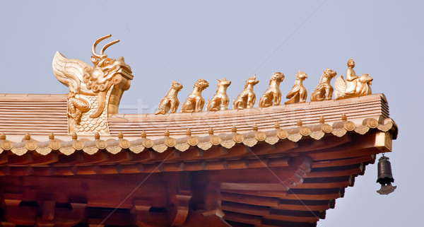 Golden  Roof Top Figurines Jing An Temple Shanghai China Stock photo © billperry