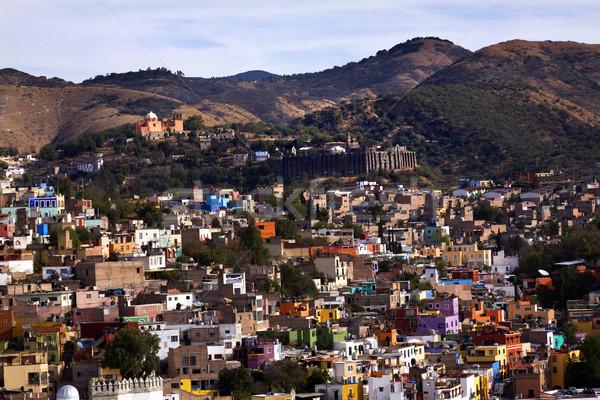 Colored Houses, Valencia Silver Mine, Guanajuato, Mexico Stock photo © billperry