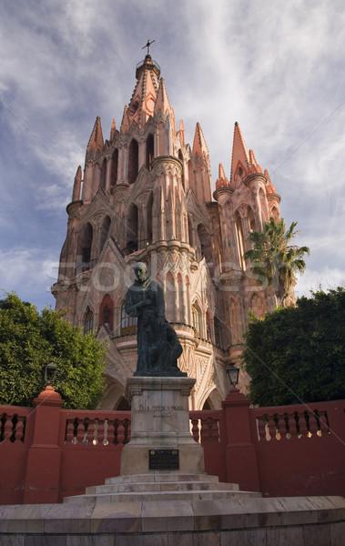 Statue of Friar Juan San Miguel, Parroquia, Archangel Church, Sa Stock photo © billperry