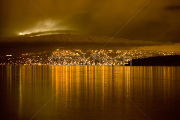 Kuzey Vancouver gece ışıklar Kayak başvurmak Stok fotoğraf © billperry