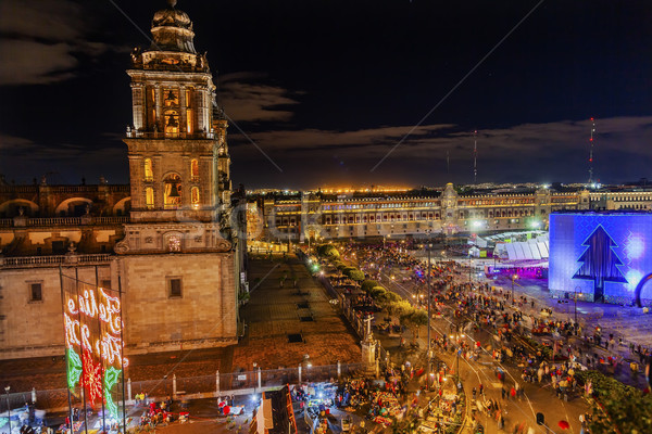 Metropolitan Cathedral Zocalo Mexico City Christmas Night Stock photo © billperry