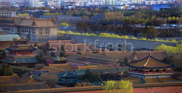 Vermelho azul cidade proibida Pequim China velho Foto stock © billperry