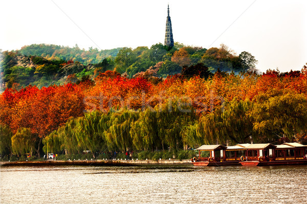 Ancient Baochu Pagoda Boats West Lake Hangzhou Zhejiang China Stock photo © billperry