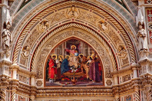 Jesus Mosaic Facade Duomo Cathedral Basilica Florence Italy Stock photo © billperry