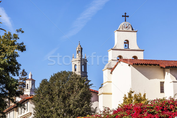 Steeples White Adobe Mission Santa Barbara Cross Bell Bougainvil Stock photo © billperry