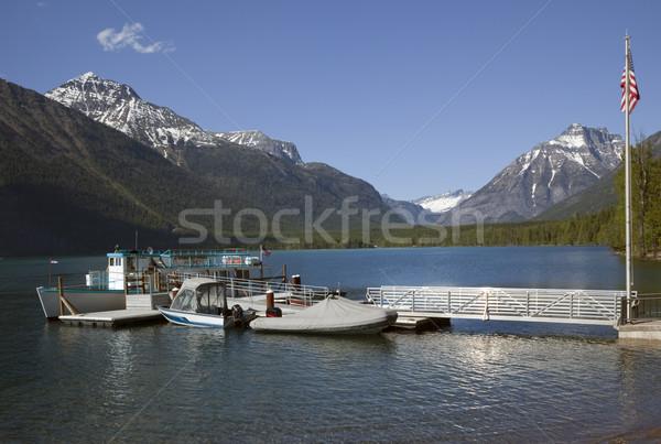 Lago barche ghiacciaio parco neve montagna Foto d'archivio © billperry