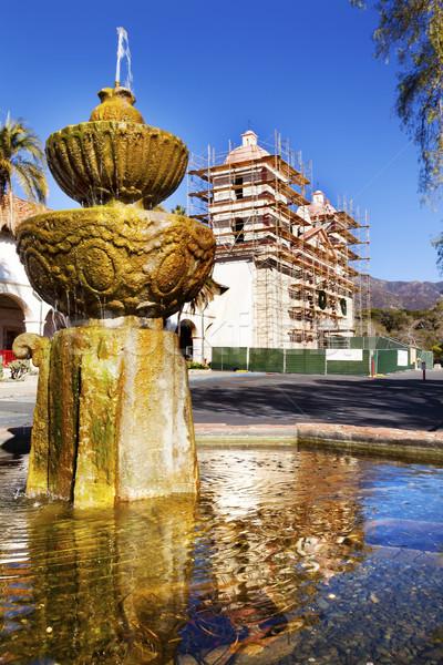 Fountain White Adobe Mission Santa Barbara Construction Californ Stock photo © billperry