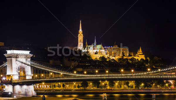 Chain Bridge Matthias Church Night Budapest Hungary Stock photo © billperry
