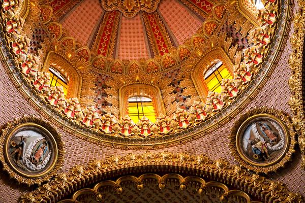 Templom kupola bent közelkép részletek rózsaszín Stock fotó © billperry