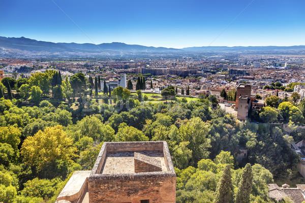 Alhambra kastély torony városkép Spanyolország templomok Stock fotó © billperry