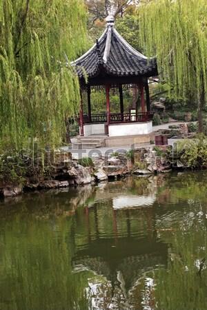 Red Pavilion Lotus Garden Temple of Sun City Park Beijing, China Stock photo © billperry