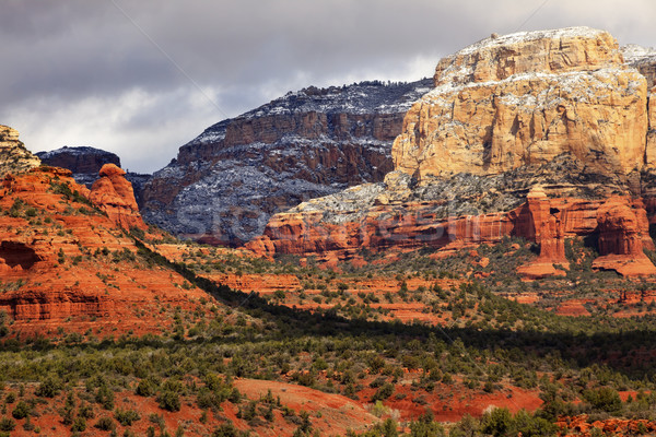 Boynton Red White Rock Canyon Snow Clouds Sedona Arizona Stock photo © billperry