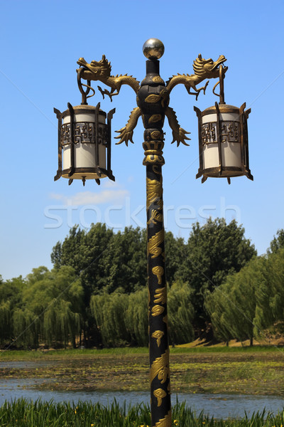 Ornate Dragon Lamp Post Yuanming Yuan Old Summer Palace Willows Beijing China Stock photo © billperry