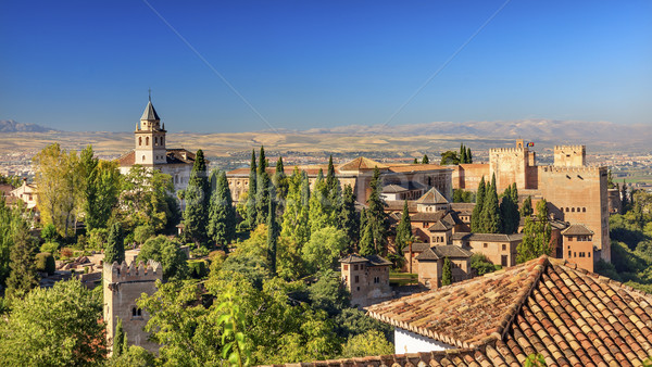 Alhambra Castle Towers Cityscape Churchs Granada Andalusia Spain Stock photo © billperry