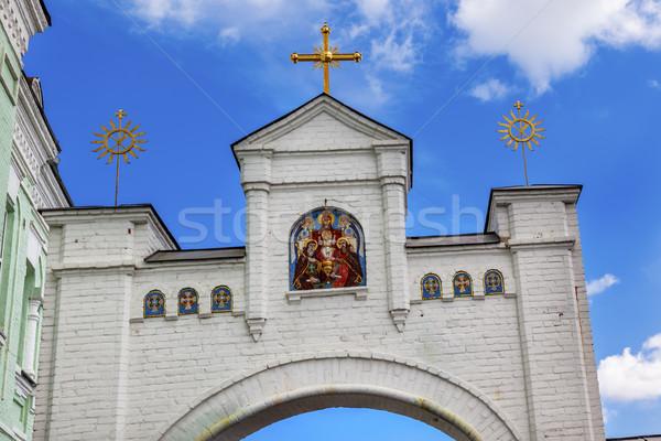 Witte poort mozaiek heilig onderstelling kruisen Stockfoto © billperry