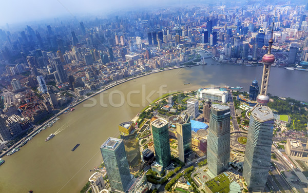 Oriental Pearl TV Tower Pudong Bund Huangpu River Shanghai China Stock photo © billperry