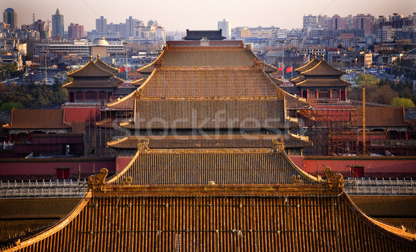 Jaune toits cité interdite Pékin Chine parc Photo stock © billperry