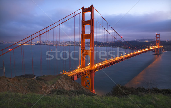 Golden Gate Bridge luces San Francisco California cielo Foto stock © billperry