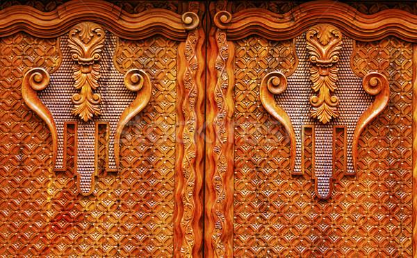 Altın kahverengi ahşap kapı Meksika süslemeleri Stok fotoğraf © billperry