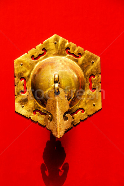 Red Door Ornate Brass Knocker Houhai Lake Beijing, China Stock photo © billperry