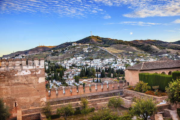 Alhambra Morning Sky Granada Cityscape Old Walls Churches Andalu Stock photo © billperry