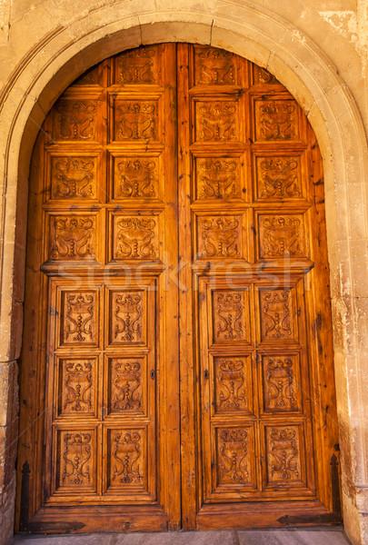 Alhambra Wooden Ornate Door Granada Andalusia Spain Stock photo © billperry