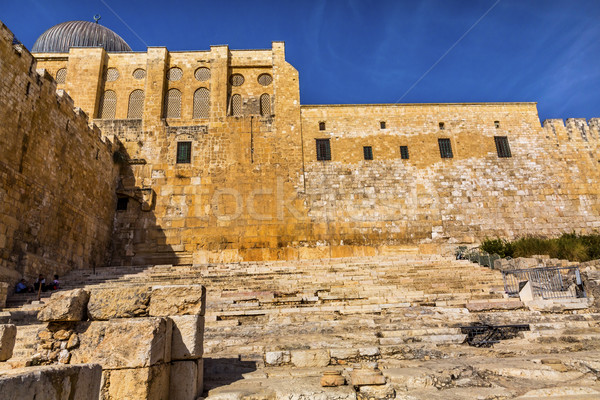 Ancient Steps Second Jewish Temple Archaelogical Park Jerusalem  Stock photo © billperry
