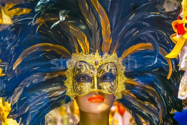 Kék velencei maszkok Velence Olaszország használt Stock fotó © billperry