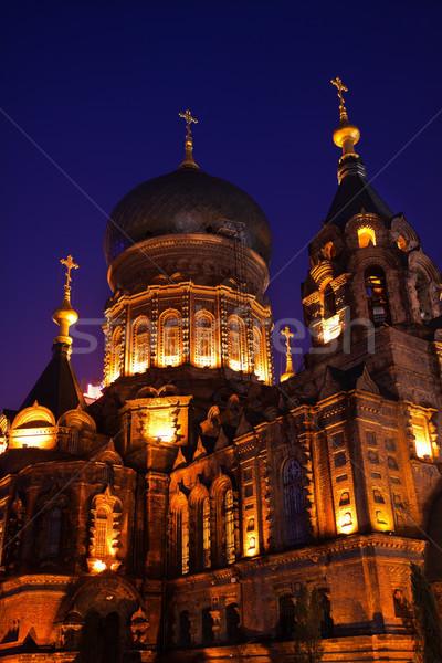 Saint Sofia Russian Orthodox Church Dome Details Harbin China Stock photo © billperry