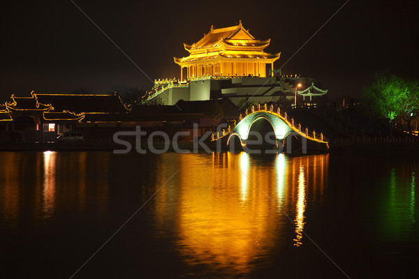 Ancient Dragon Pavilion Night Reflection Bridge Longting Park Ka Stock photo © billperry