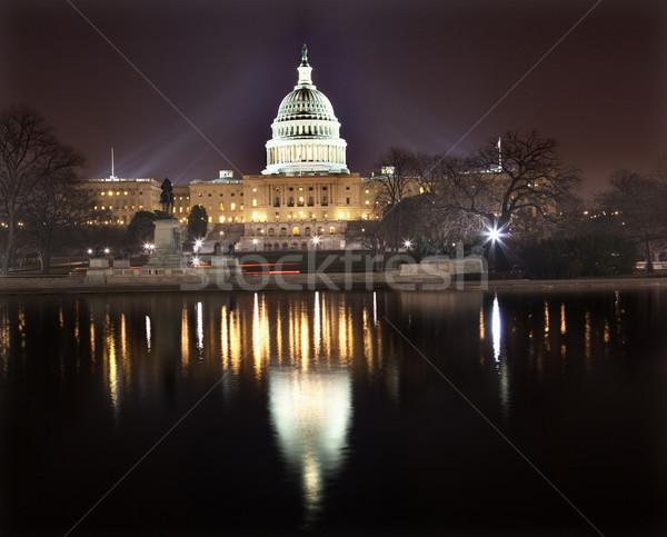 Foto stock: Noite · reflexão · Washington · DC · congresso · casa · senado